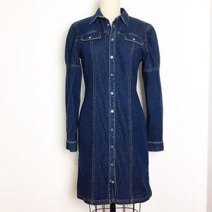 Ralph Ralph Lauren Puff Shoulder Denim Dress - 6